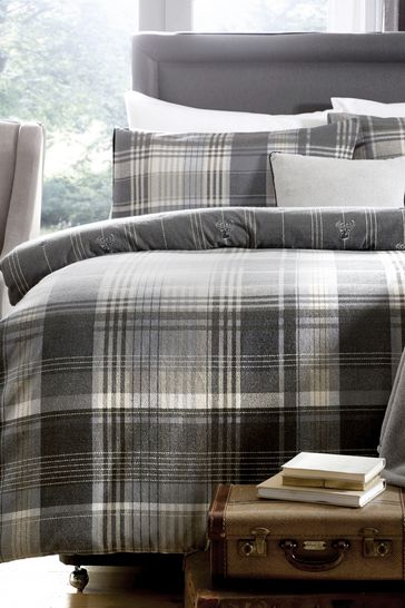 D&D Connolly Check Brushed Cotton Flannel Duvet Cover and Pillowcase Set