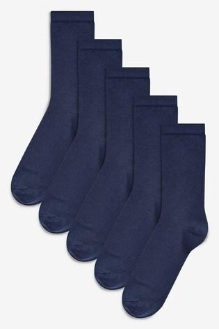 Navy Modal Ankle Socks Five Pack