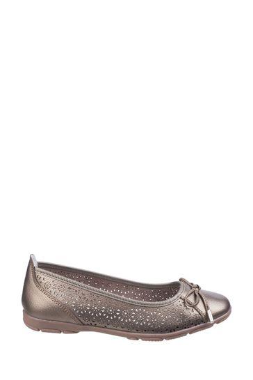 Fleet & Foster Gold Lagune Flat Ballerina Shoes