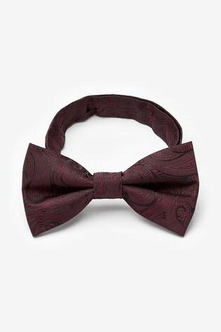 Burgundy Paisley Pattern Bow Tie