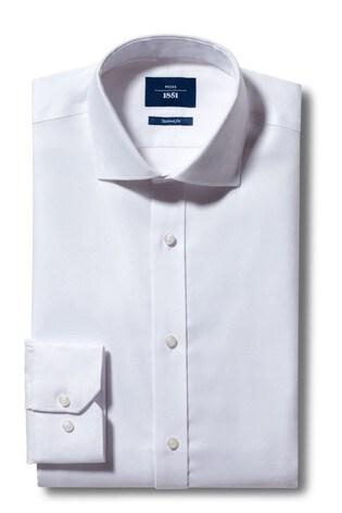 Moss 1851 Tailored Fit White Single Cuff Non-Iron Shirt
