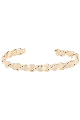 Accessorize Gold Tone Skinny Twisted Cuff Bangle