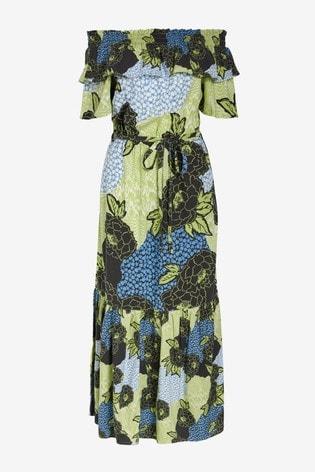 Blue/Green Floral Off Shoulder Maxi Dress