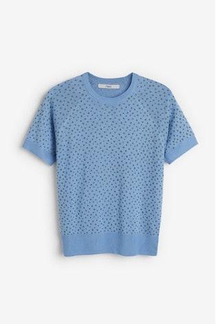 Blue Glitter Short Sleeve Jumper
