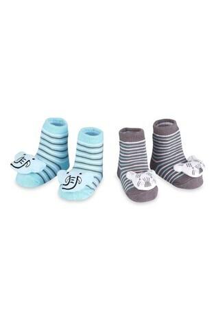 aden + anais Blue Elephant And Zebra Rattle Socks Two Pack Gift Set