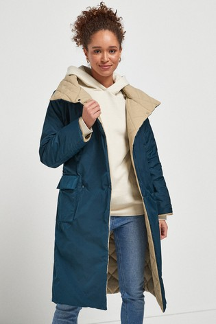 Teal Quilted Reversible Coat