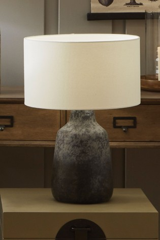 Vulcan Textured Volcanic Effect Grey Stoneware Table Lamp by Pacific