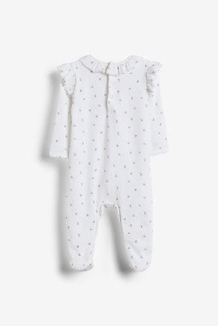 White Floral Velour Sleepsuit (0mths-3yrs)