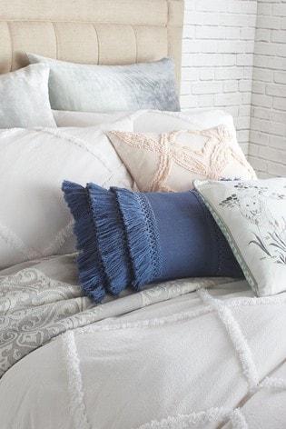 Peri Home White Chenille Trimmed Lattice Pillowcase