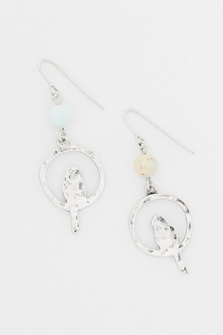 White Stuff Metallic Bird And Hoop Earrings