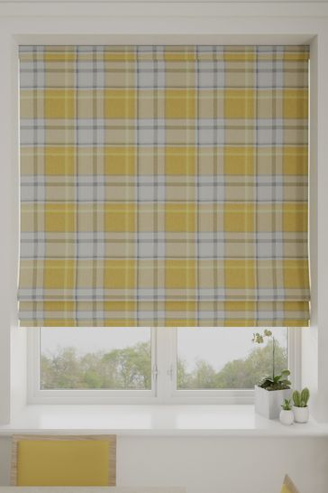 Marlow Check Ochre Yellow Made To Measure Roman Blind