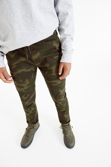 Camouflage Regular Fit Rib Waist Pull-On Trousers (3-16yrs)