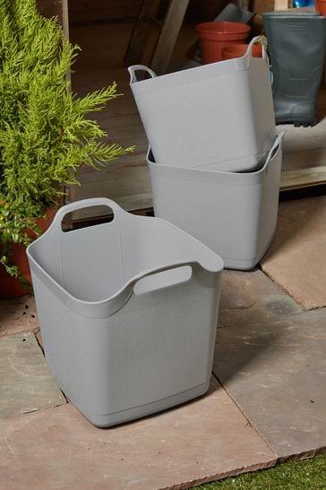 Set of 3 Wham 15Ltr Flex-Square Plastic Storage Tubs