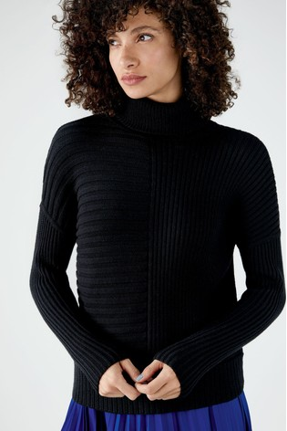 Pure Collection Black Ribbed Relaxed Polo Neck Sweater