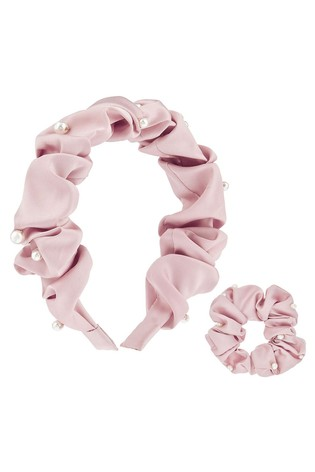 Monsoon Satin Pearl Scunchie & Hairband Set