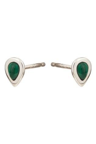 Oliver Bonas Zosia Teardrop Stone Silver Tone Stud Earrings