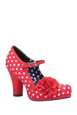 Ruby Shoo Red Hannah Chunky Heeled Bar Buckle Shoes