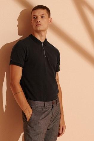 Superdry Organic Cotton NYC Zip City Polo Shirt