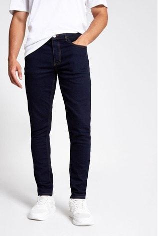 River Island Blue Dark Skinny Mountain Rinse Jeans