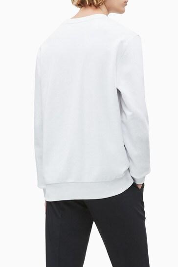 Calvin Klein White Organic Cotton Logo Sweatshirt