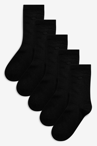 Black Modal Ankle Socks Five Pack