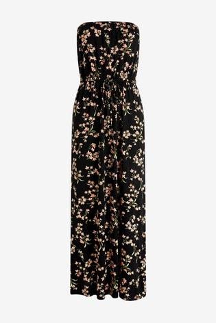 Black Floral Jersey Maxi Dress