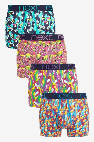 Bright Bird Print A-Fronts Four Pack