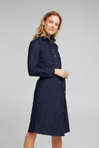 Esprit Blue Long Sleeve Belted Denim Dress