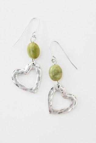 White Stuff Metallic Heart & Stone Drop Earrings