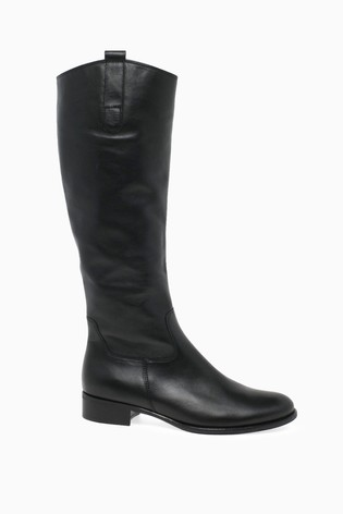 Gabor Black Brook Calf Fit Leather Long Leg Boots