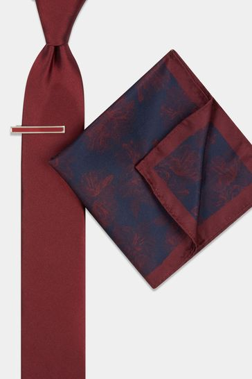 Moss London Wine Floral Tie, Pocket Square And Tie Bar Set