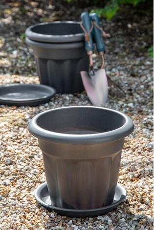 Set of 3 Wham Vista 25cm Plastic Round Planter And Tray