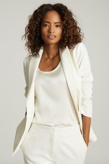 Reiss White Leigh Wool Blend Tuxedo Blazer