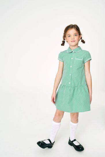 Green Drop Waist Gingham Dress (3-14yrs)