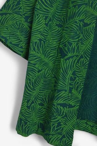 Green Palm Print Kimono