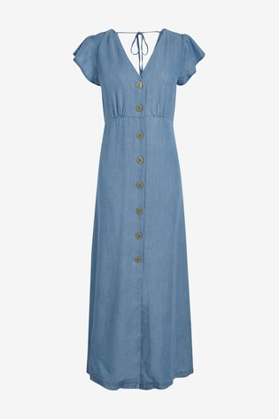 Blue TENCEL™ Button Through Maxi Dress
