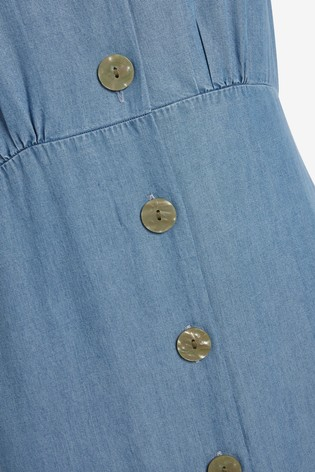 Blue TENCEL™ Button Through Maxi Dress