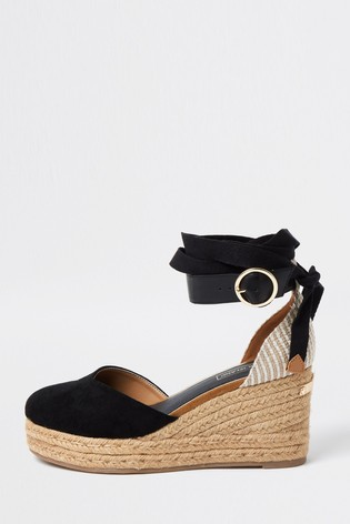River Island Black Espadrille Two Part Wedges