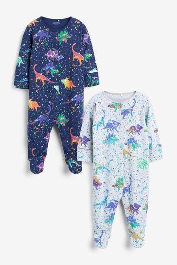 Dino Splat 2 Pack Sleepsuits (0mths-3yrs)