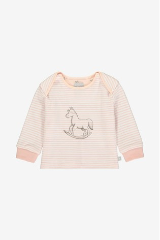 The Little Tailor Pink Yarn Rocking Horse Jersey Top