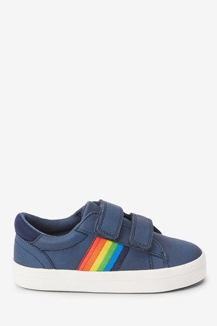 Navy Rainbow Tape Double Strap Shoes (Younger)