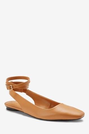 Camel Ankle Wrap Square Toe Shoes