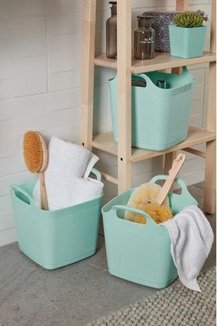 Set of 3 Wham 8Ltr Flexi-Store Graduated Square Plastic Storage Tubs