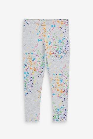 Grey Marl Splat Print Leggings (3-16yrs)