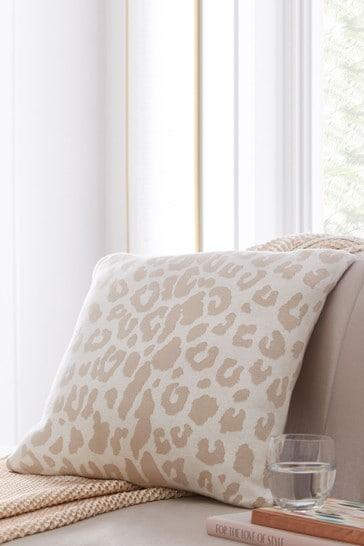Tess Daly Natural Leopard Knit Cushion