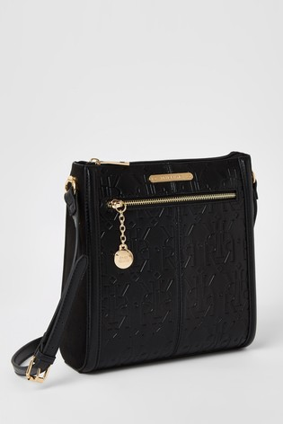River Island Black Embossed Structured Messenger Bag