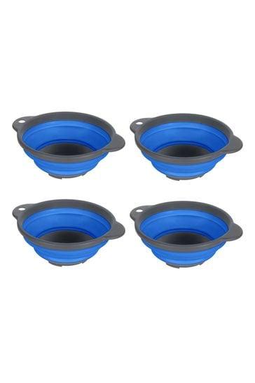 Regatta Blue Silicon Folding Bowls Four Pack
