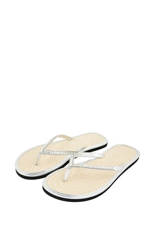 Accessorize Embellished Metallic Flip Flops