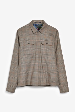 Taupe Slim Fit Check Shacket