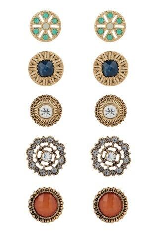 Accessorize Multi Simplicity Stud Earrings Pack Of Five